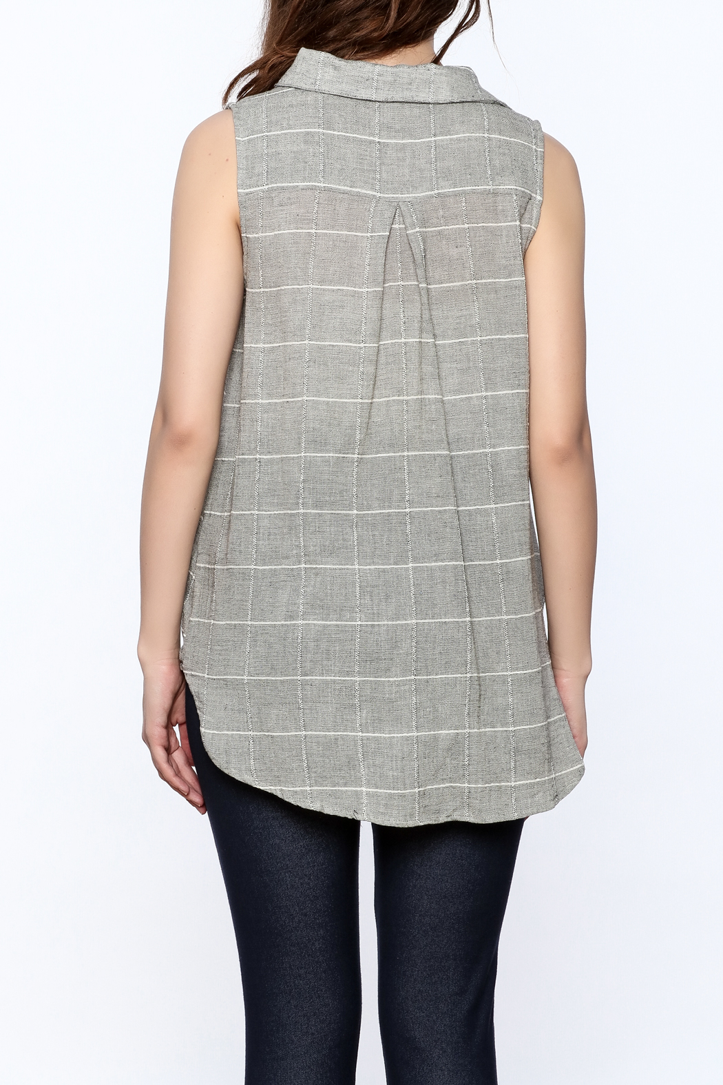 Jella Couture Grey Sleeveless Billowy Top - Back Cropped Image