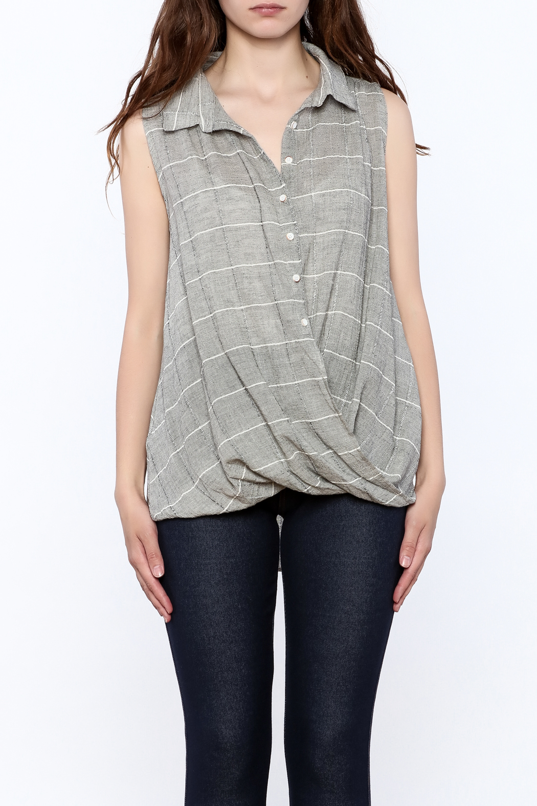 Jella Couture Grey Sleeveless Billowy Top - Side Cropped Image