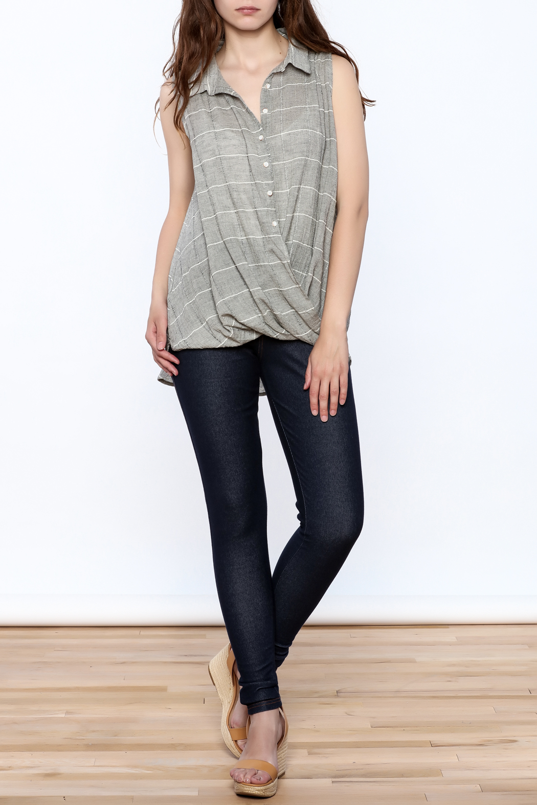 Jella Couture Grey Sleeveless Billowy Top - Front Full Image