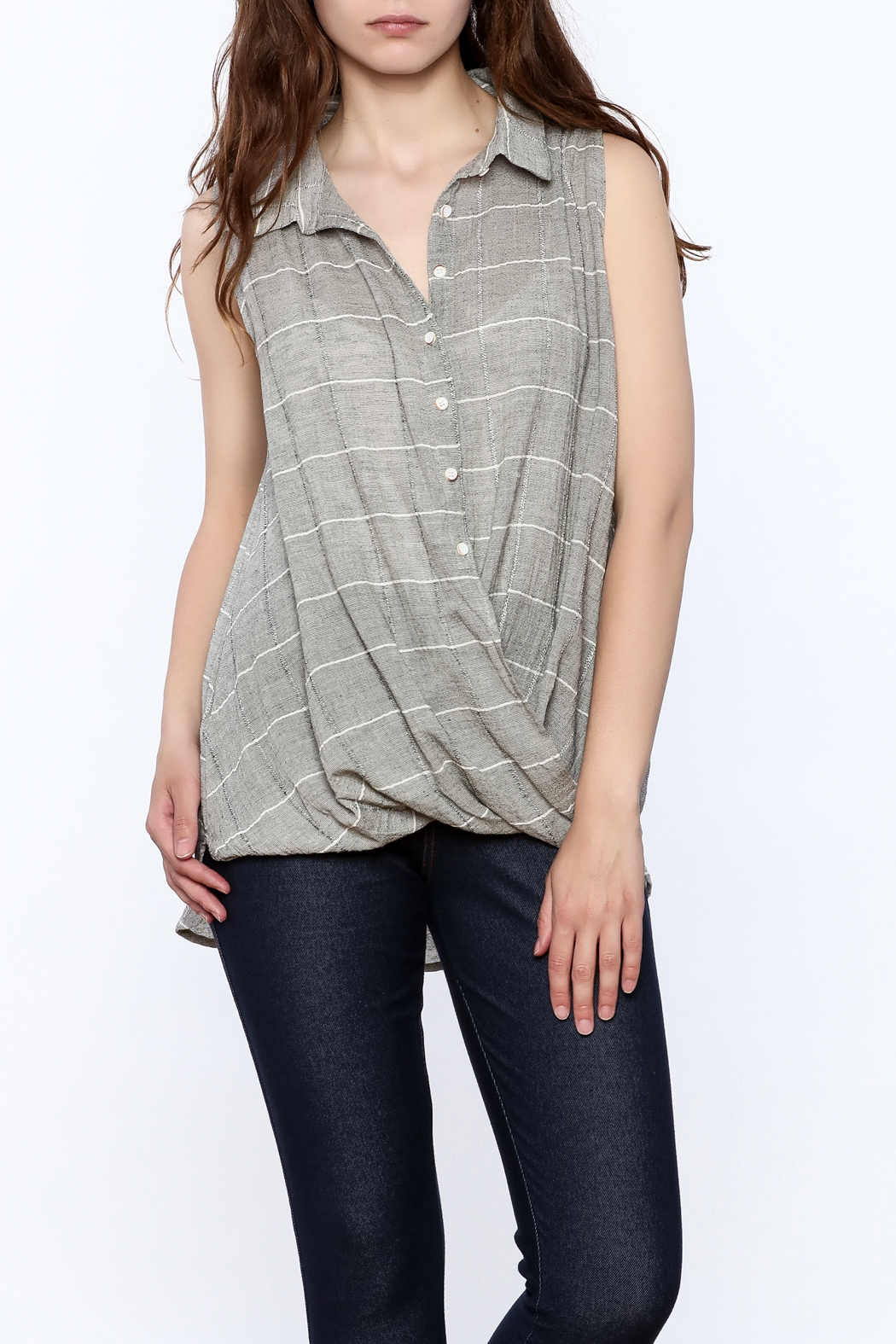 Jella Couture Grey Sleeveless Billowy Top - Front Cropped Image