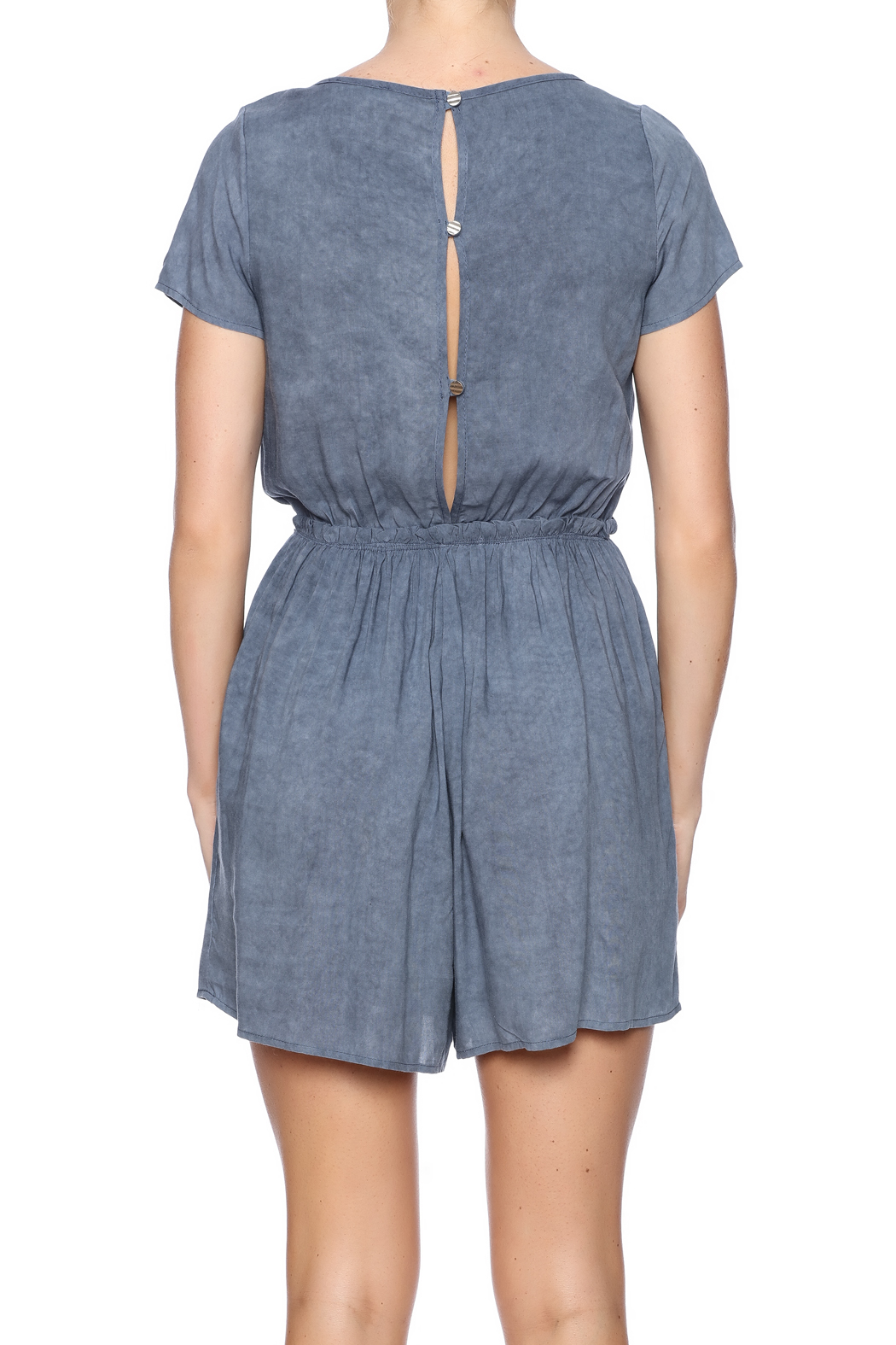 Jella Couture Washed Denim Romper - Back Cropped Image