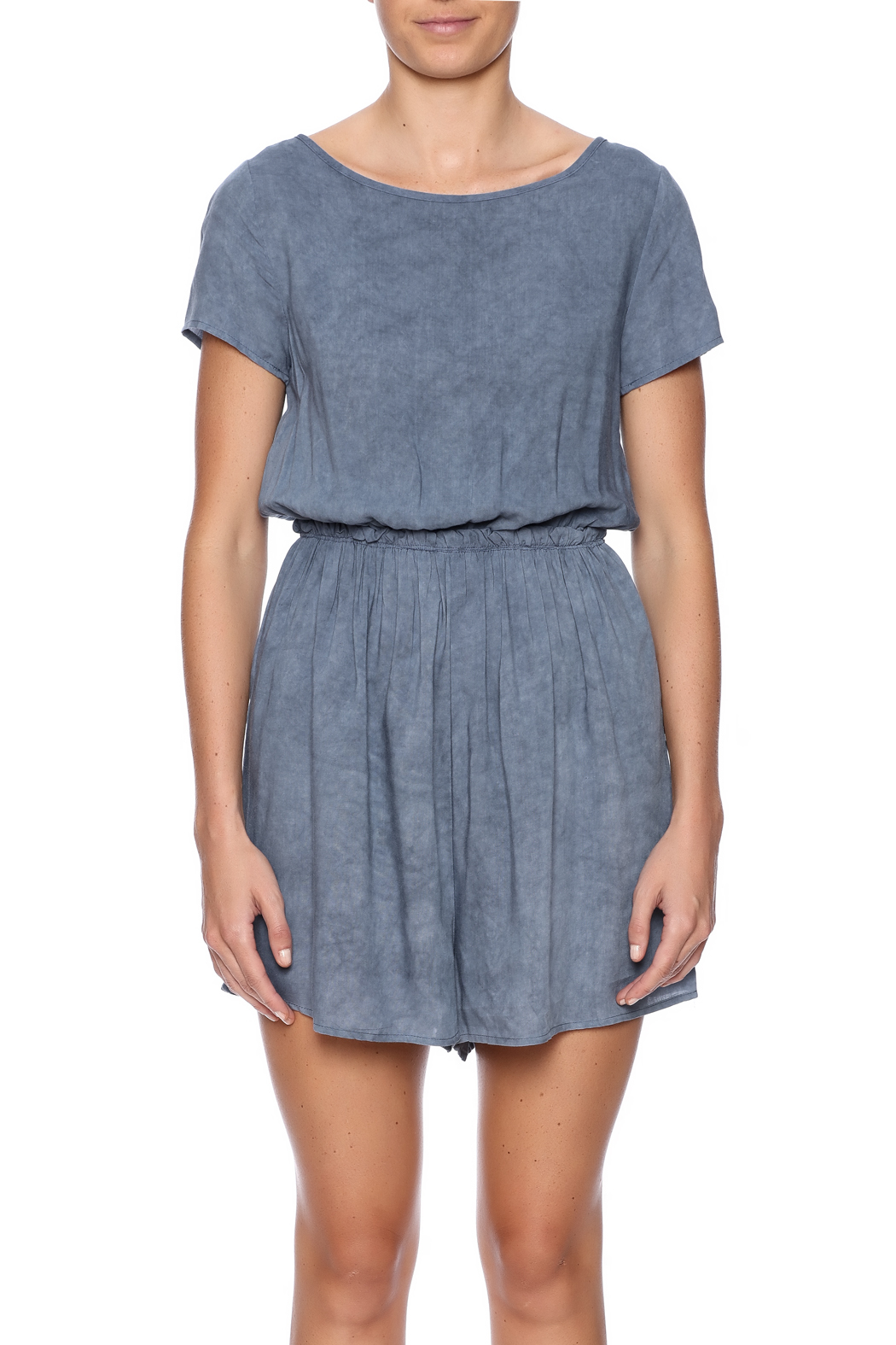 Jella Couture Washed Denim Romper - Side Cropped Image