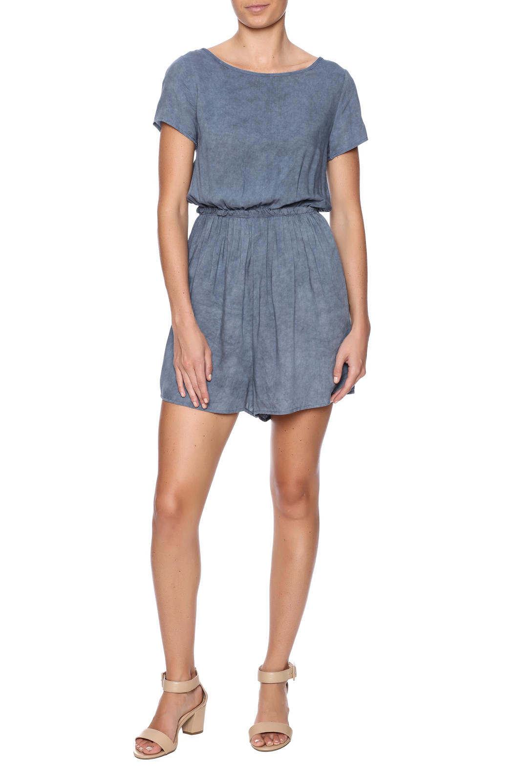Jella Couture Washed Denim Romper - Front Full Image