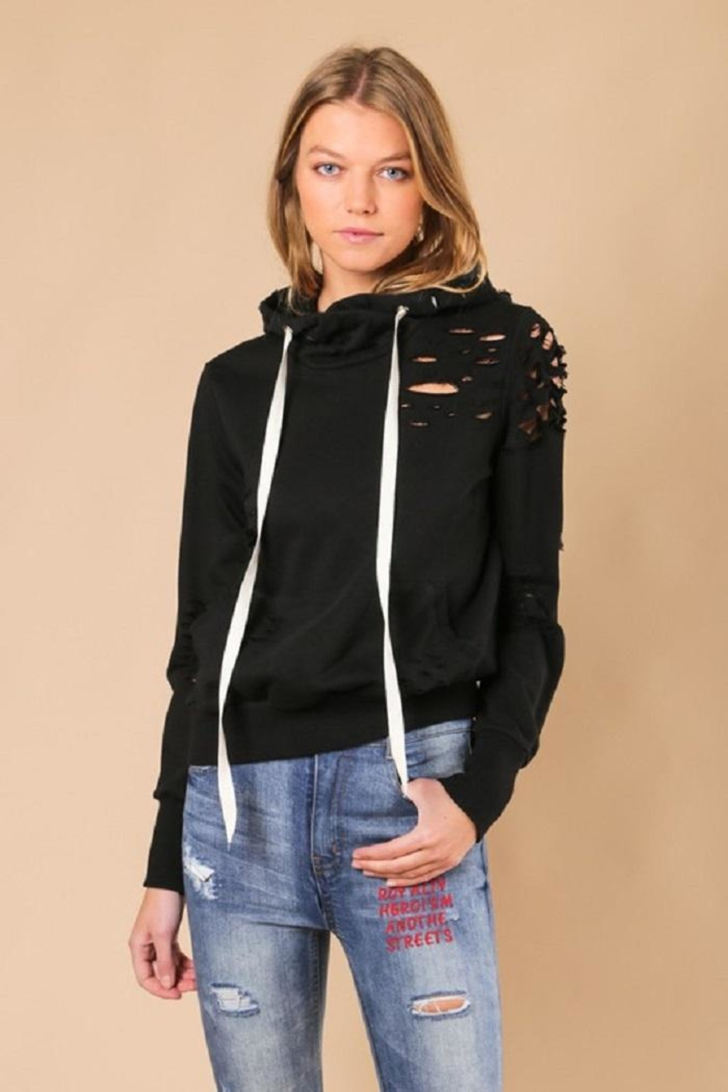 jella c Distressed Hoodie - Front Cropped Image