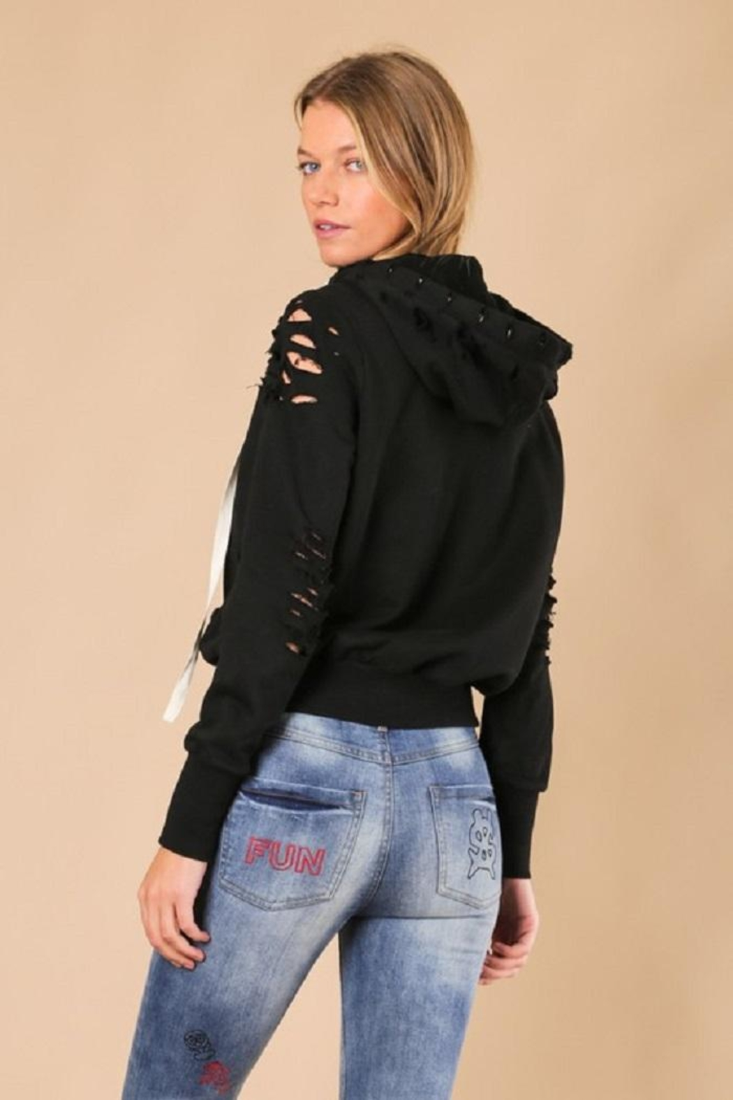 jella c Distressed Hoodie - Side Cropped Image