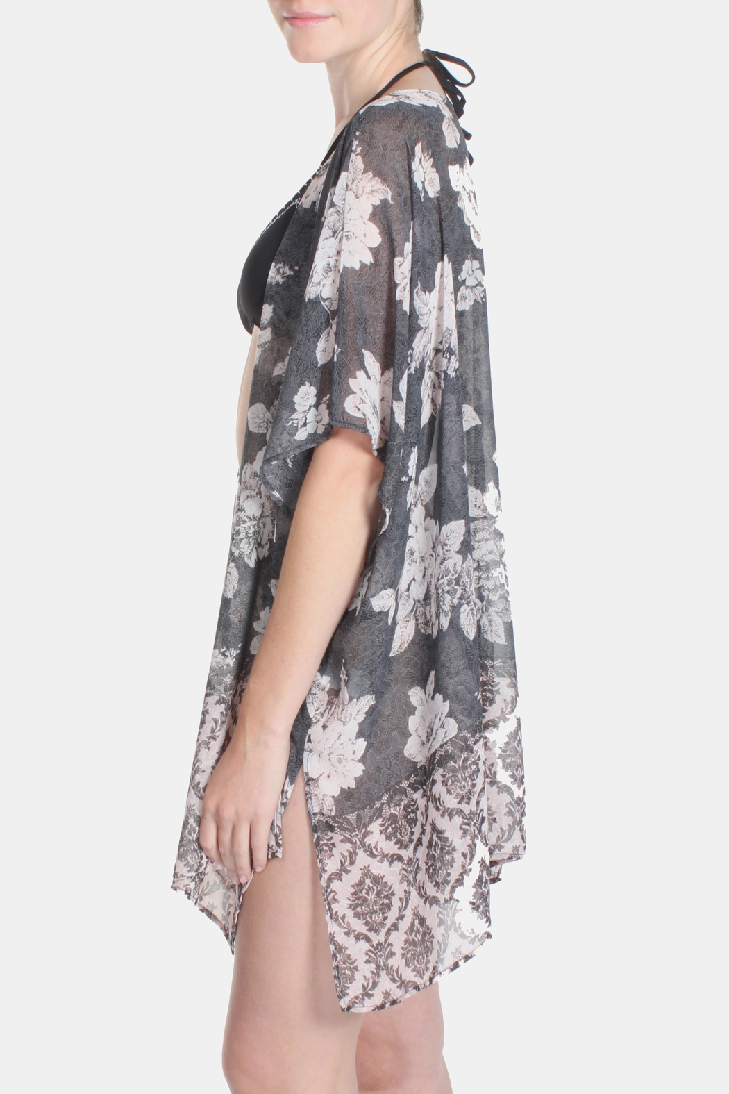 Jella Couture Luxury Floral Kimono - Side Cropped Image