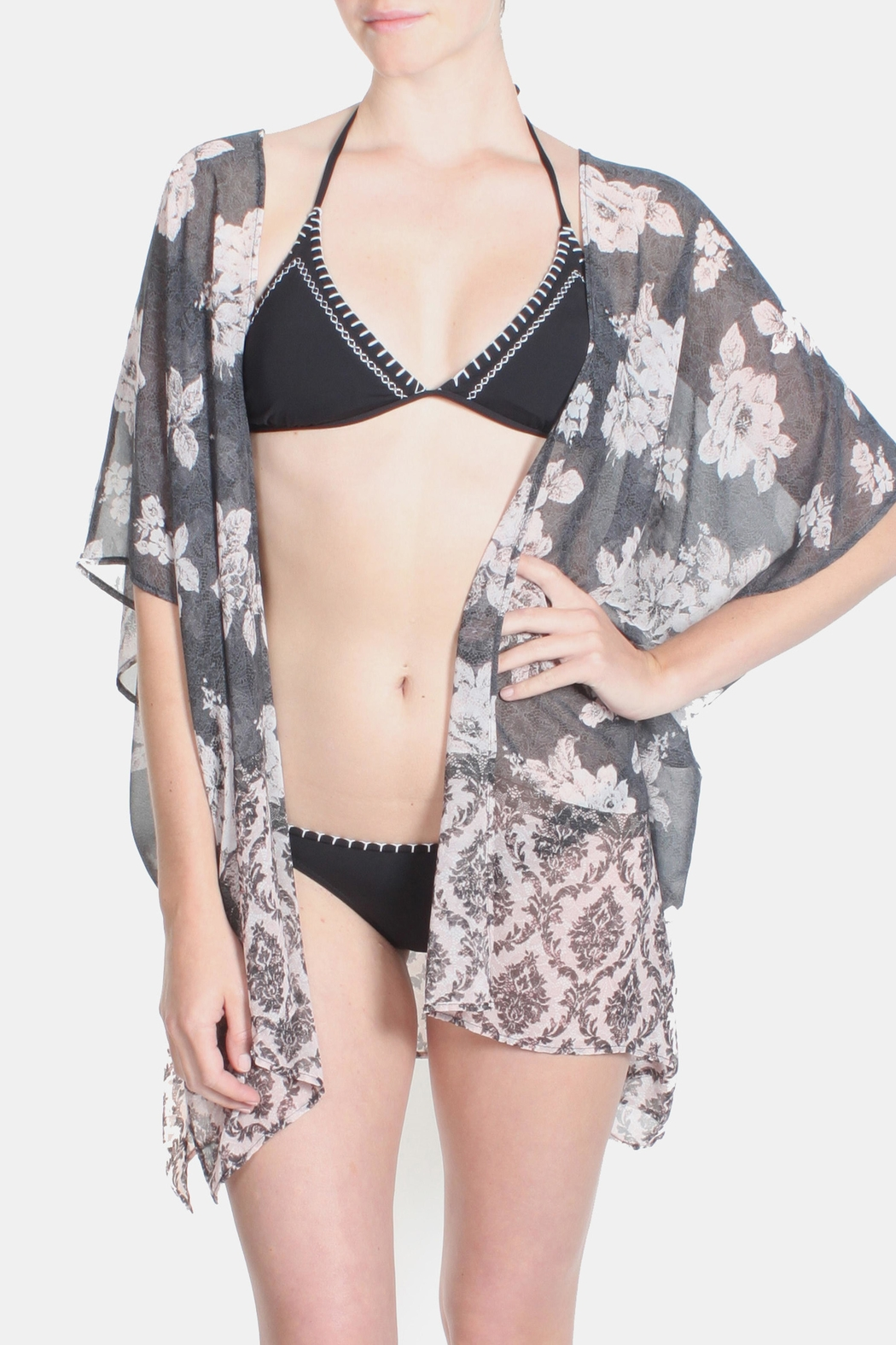 Jella Couture Luxury Floral Kimono - Front Cropped Image