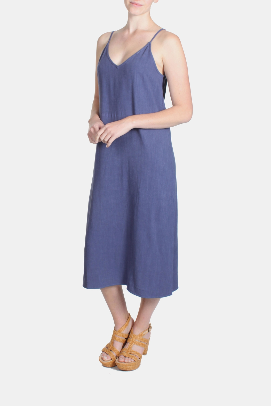 Jella Couture Periwinkle Linen Slip Dress - Side Cropped Image