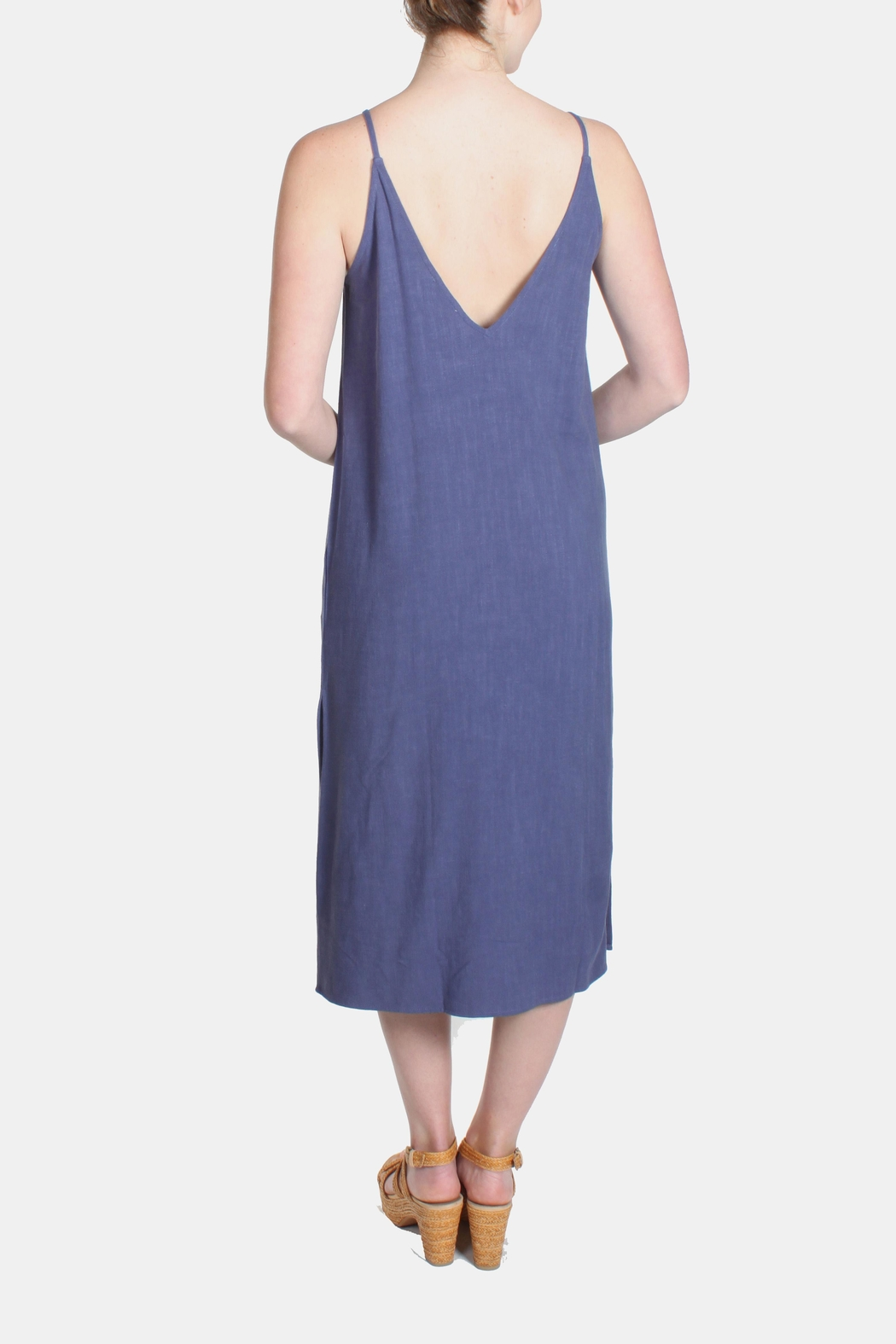 Jella Couture Periwinkle Linen Slip Dress - Front Full Image