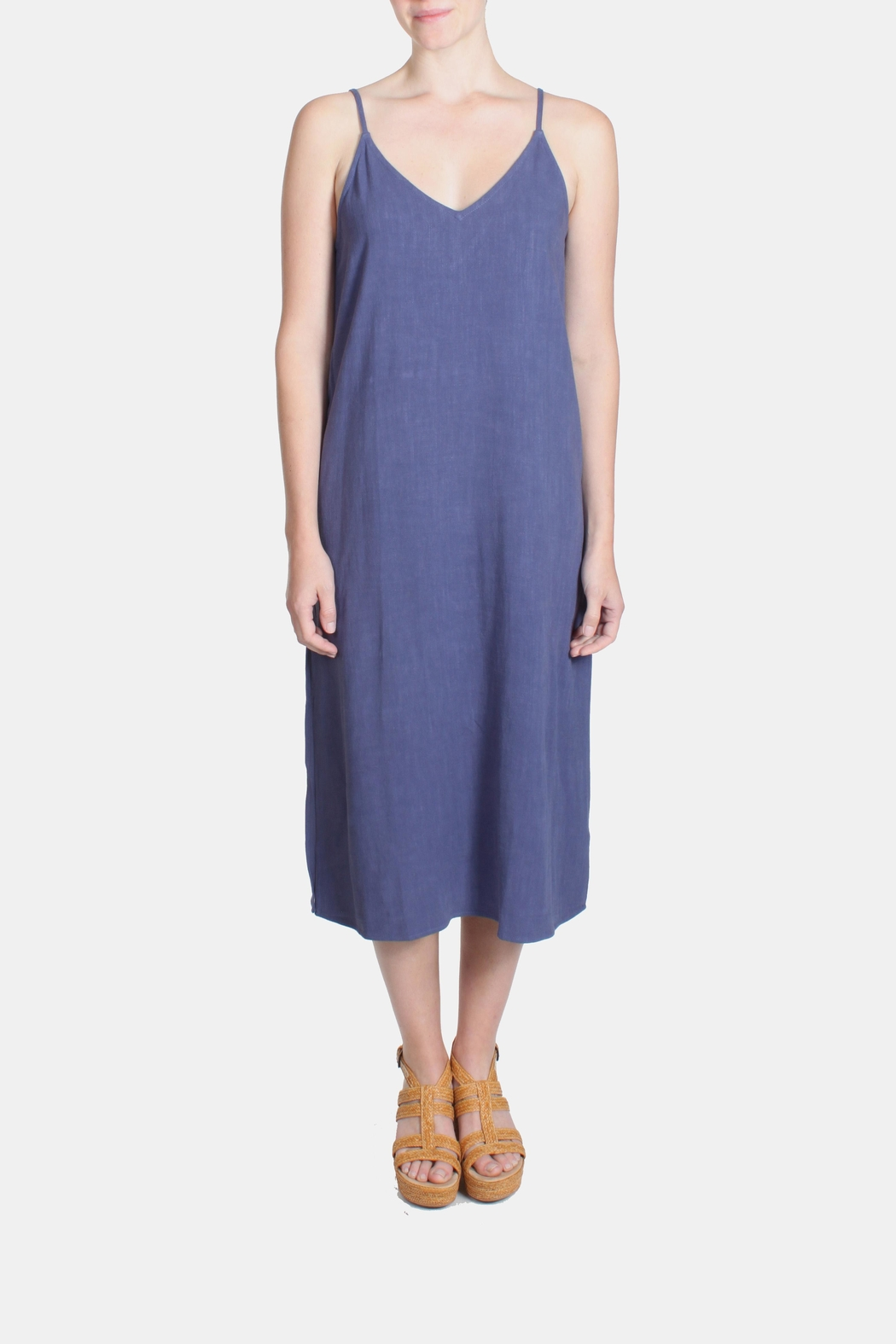Jella Couture Periwinkle Linen Slip Dress - Back Cropped Image