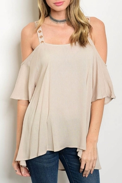 Jella Couture Tan Cold Shoulder Top - Product List Image