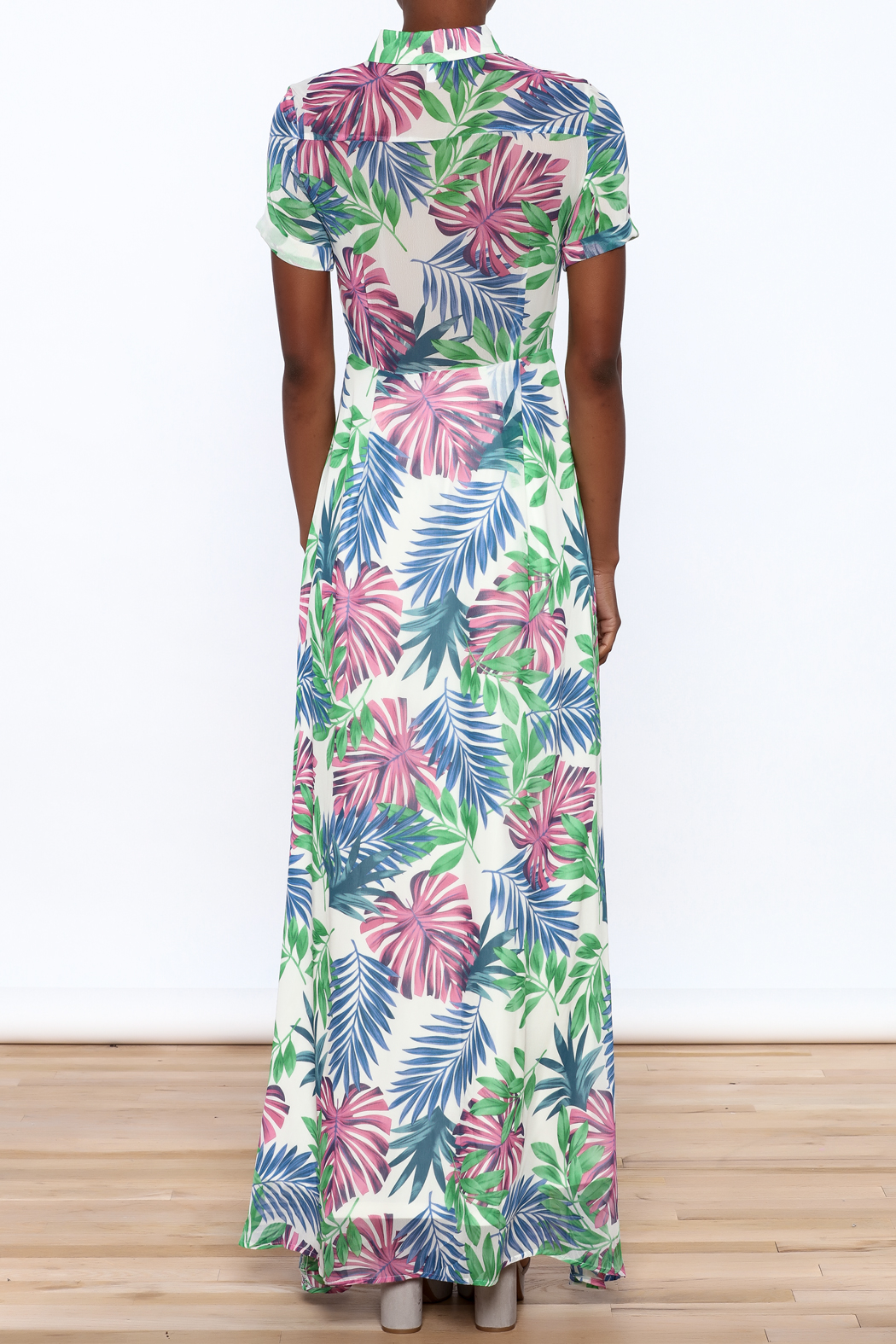 Jenn Colorful Tropics Maxi Dress - Back Cropped Image