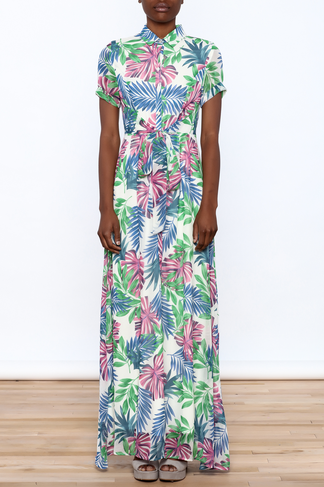 Jenn Colorful Tropics Maxi Dress - Front Cropped Image