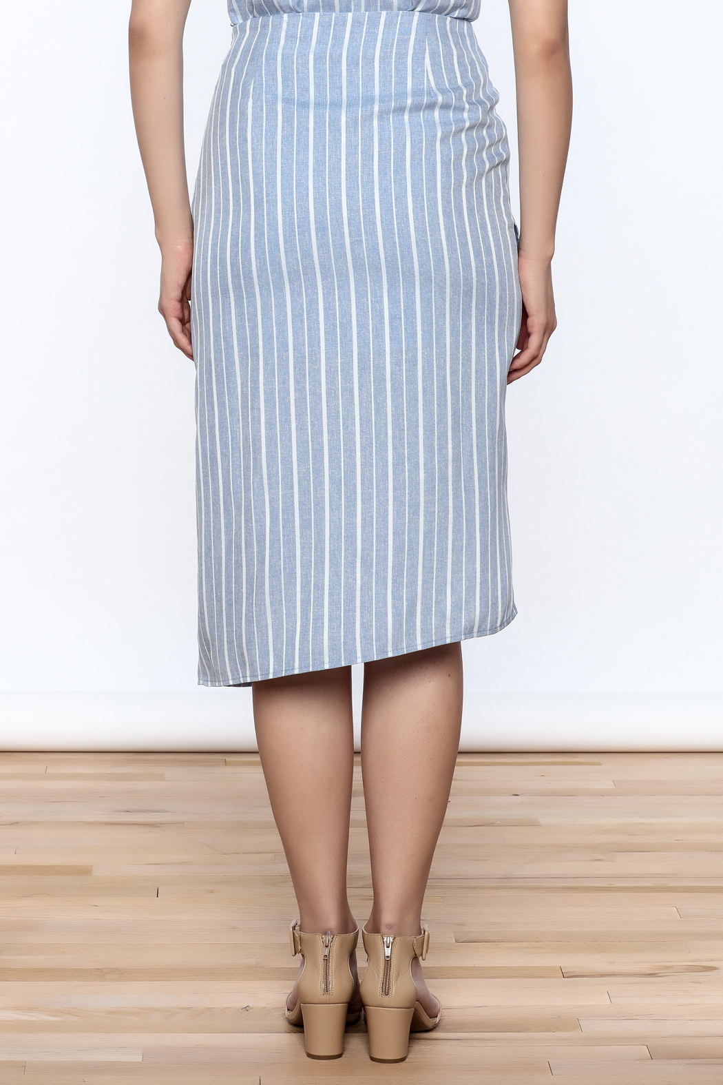 Jenn Stripe Ruffle Front Skirt - Back Cropped Image