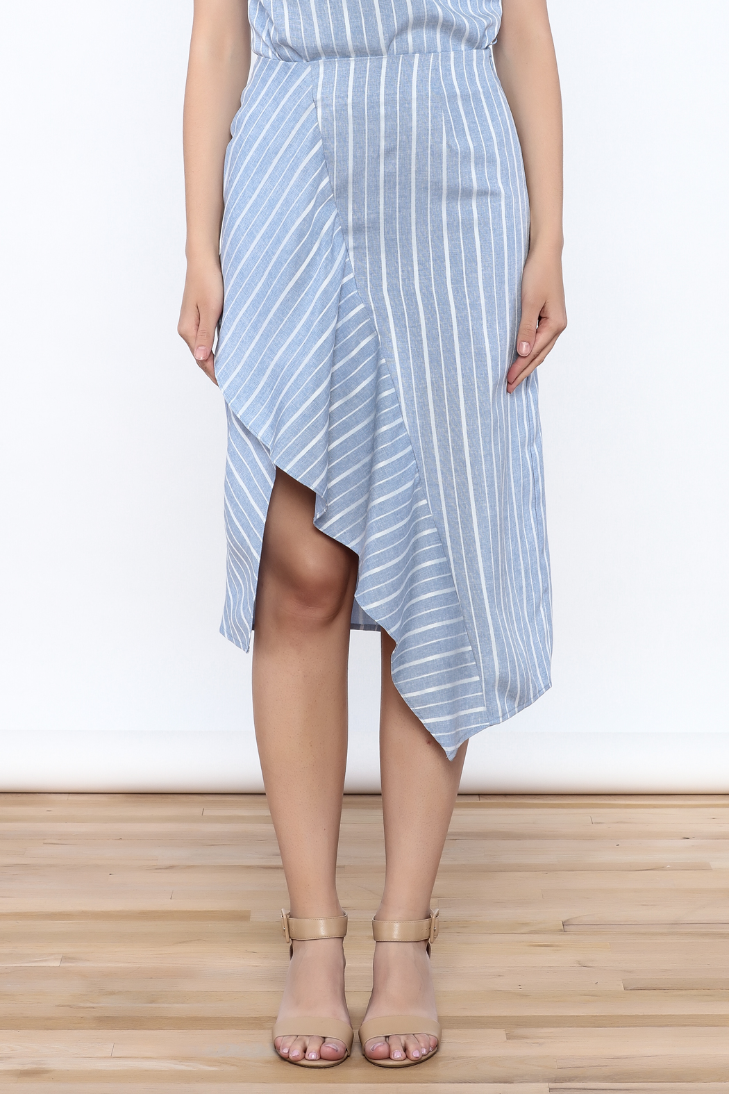 Jenn Stripe Ruffle Front Skirt - Side Cropped Image