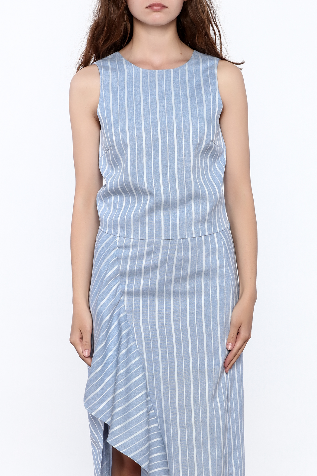 Jenn Blue Stripe Print Top - Side Cropped Image