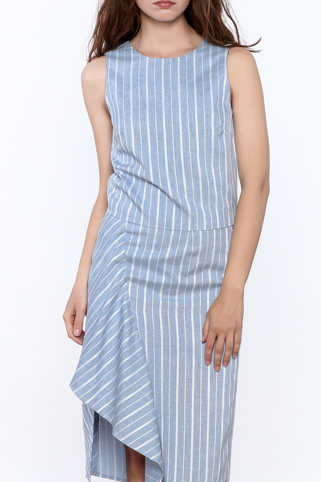 Jenn Blue Stripe Print Top - Front Cropped Image