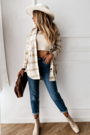 THE FREE YOGA Jenny Flannel Shirt - Front full body