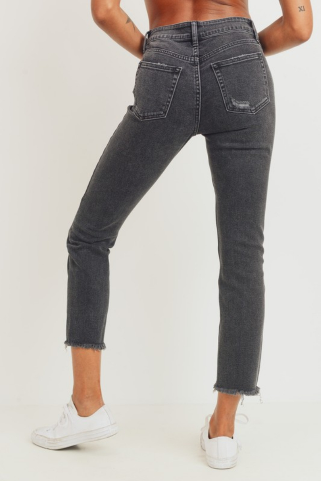 JBD Jenny High Rise Straight Jean - Back Cropped Image