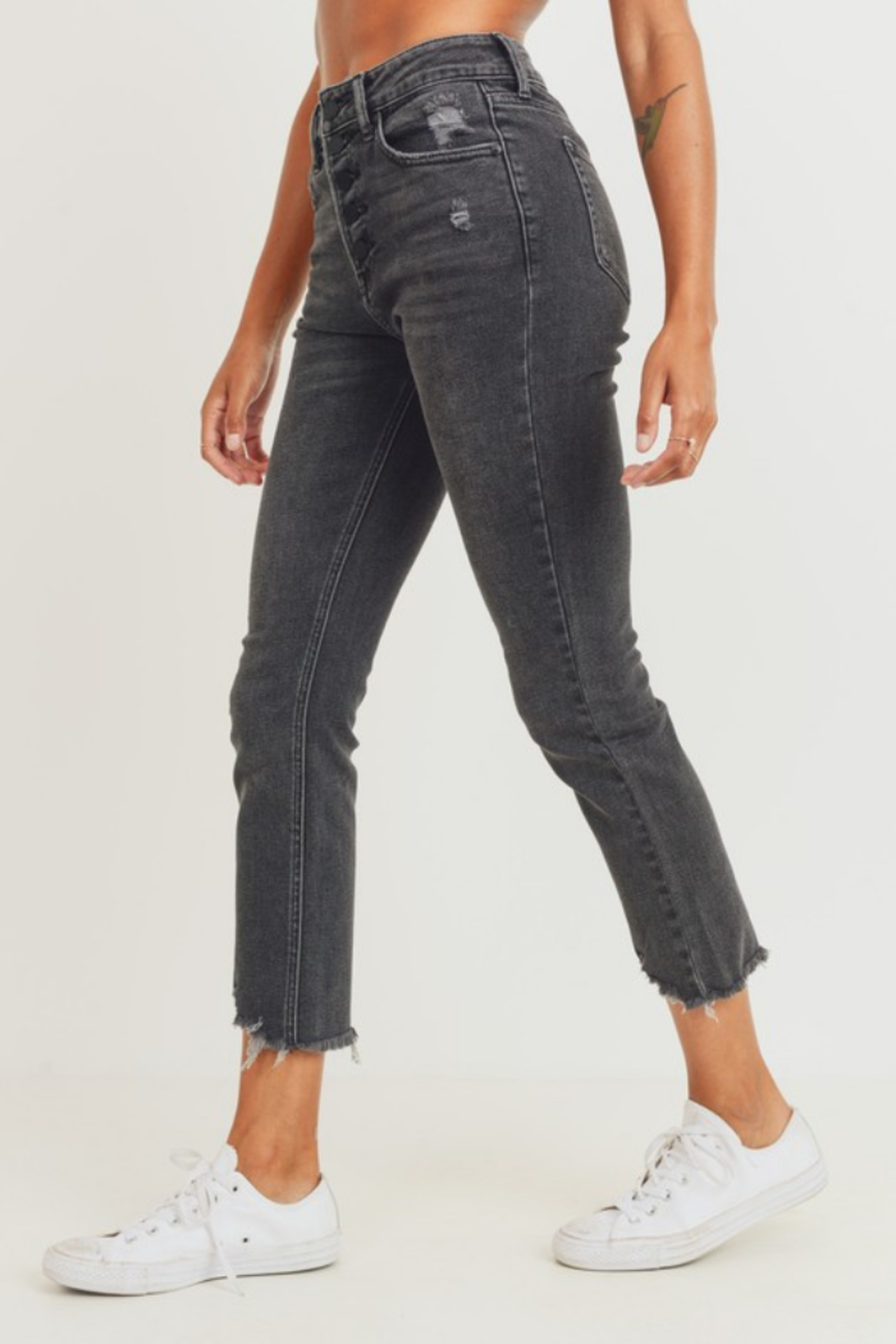 JBD Jenny High Rise Straight Jean - Side Cropped Image