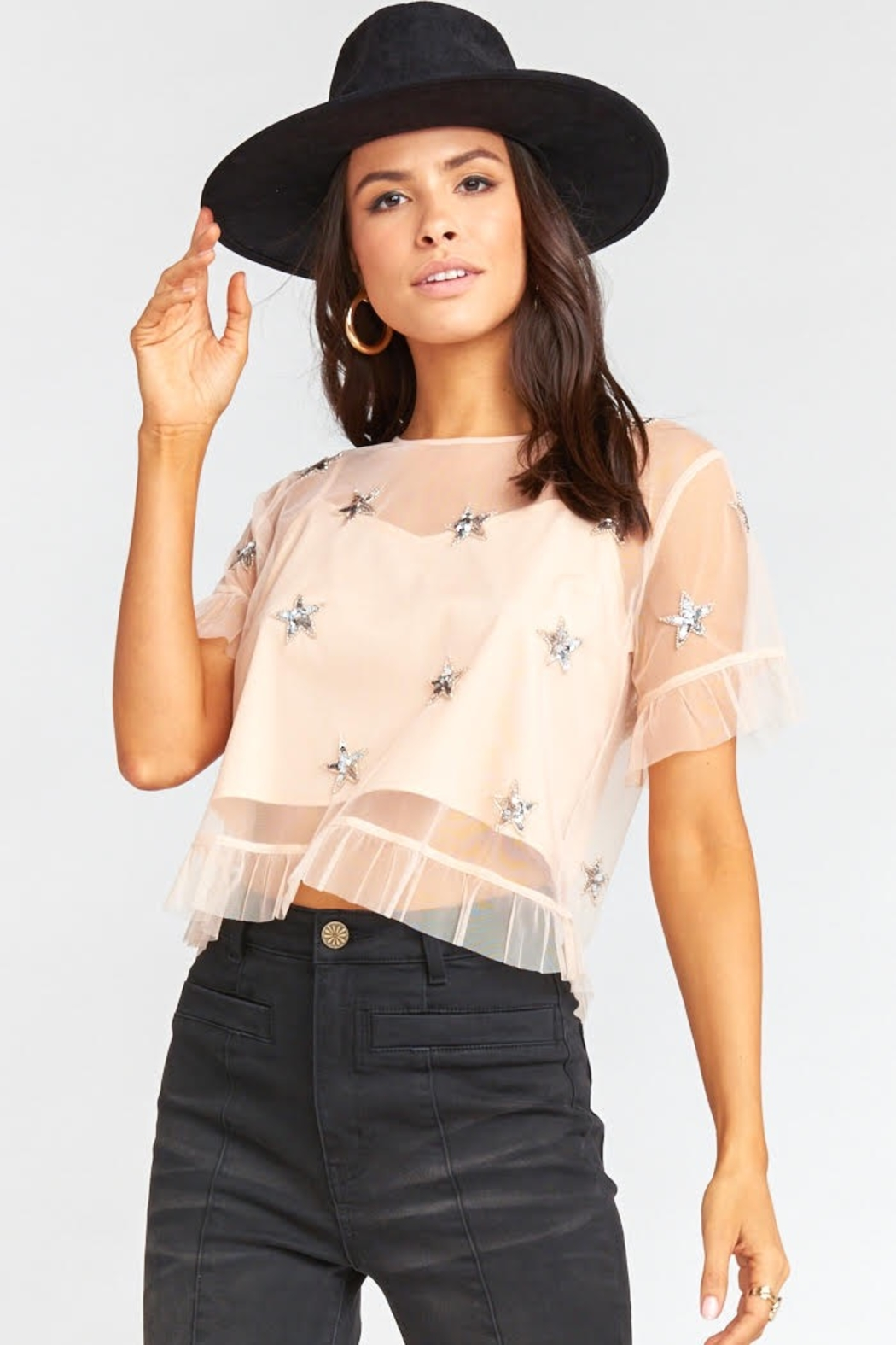 Show Me Your Mumu Jeri Star Sequin Top - Back Cropped Image