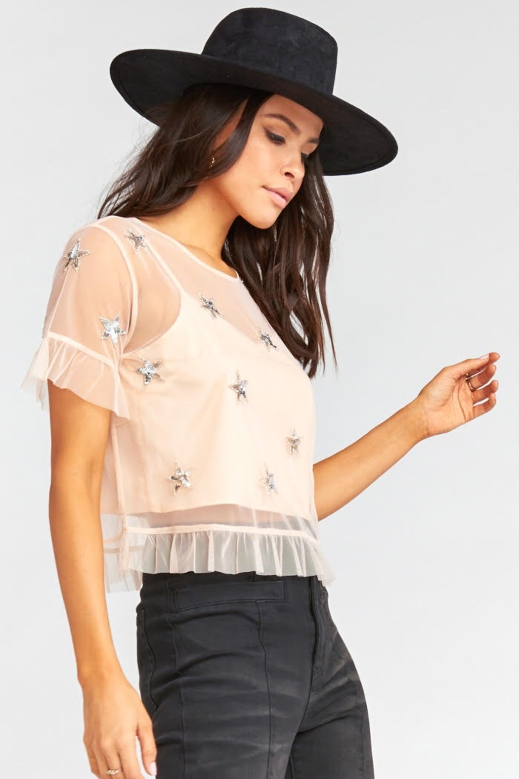 Show Me Your Mumu Jeri Star Sequin Top - Side Cropped Image