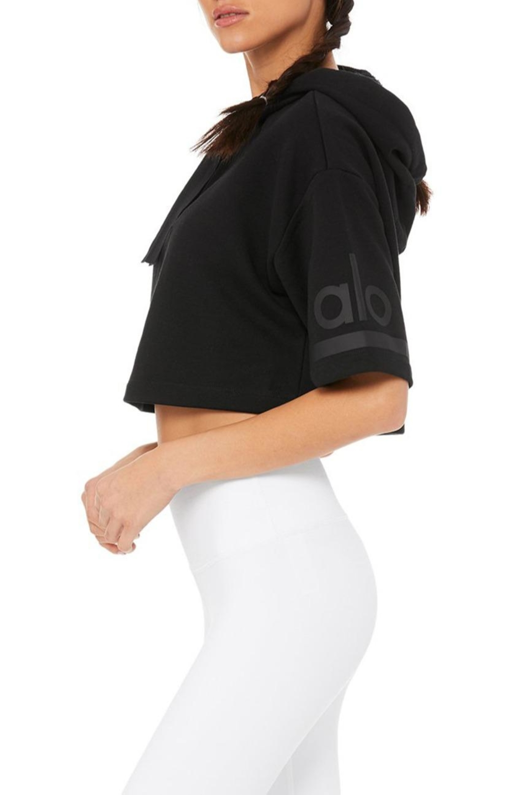 ALO Yoga Jersey Cropped Hoodie - Front Full Image