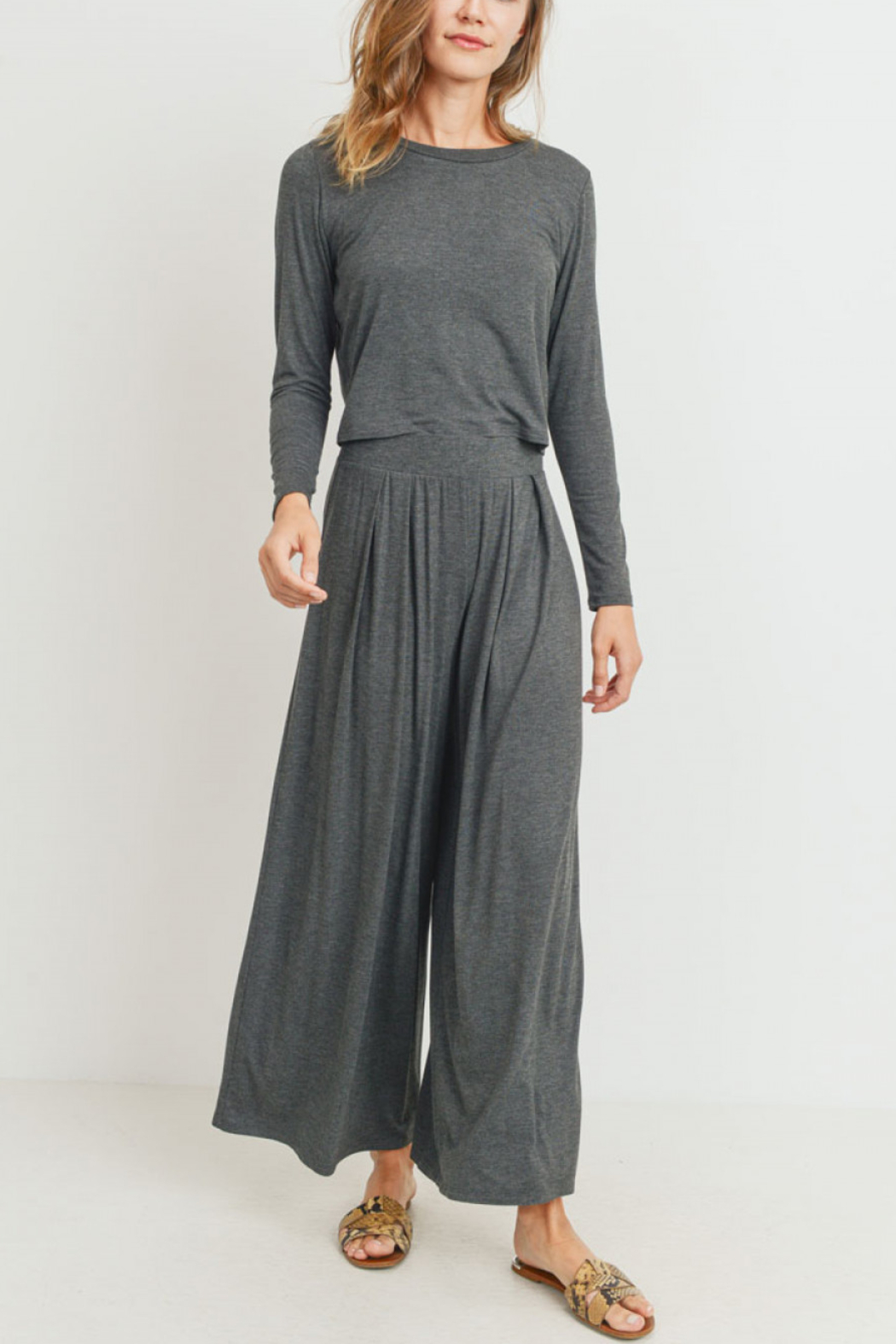 Lyn -Maree's Jersey Culotte Pants Knit Set - Front Cropped Image
