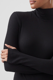 French Connection Jersey High Neck Top - Front full body