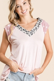 Bibi Jersey Knit V Neck Top with Leopard Neck Band - Product Mini Image