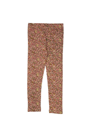 Wheat Jersey Leggings - Flowers And Animals - Front cropped