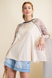 easel  Jersey Mix Print Top - Product Mini Image
