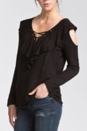 Cherish Jersey Ruffled Cold-Shoulder Top - Side cropped