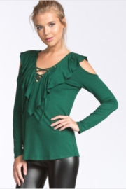 Cherish Jersey Ruffled Hunter Green Cold Shoulder Top - Product Mini Image