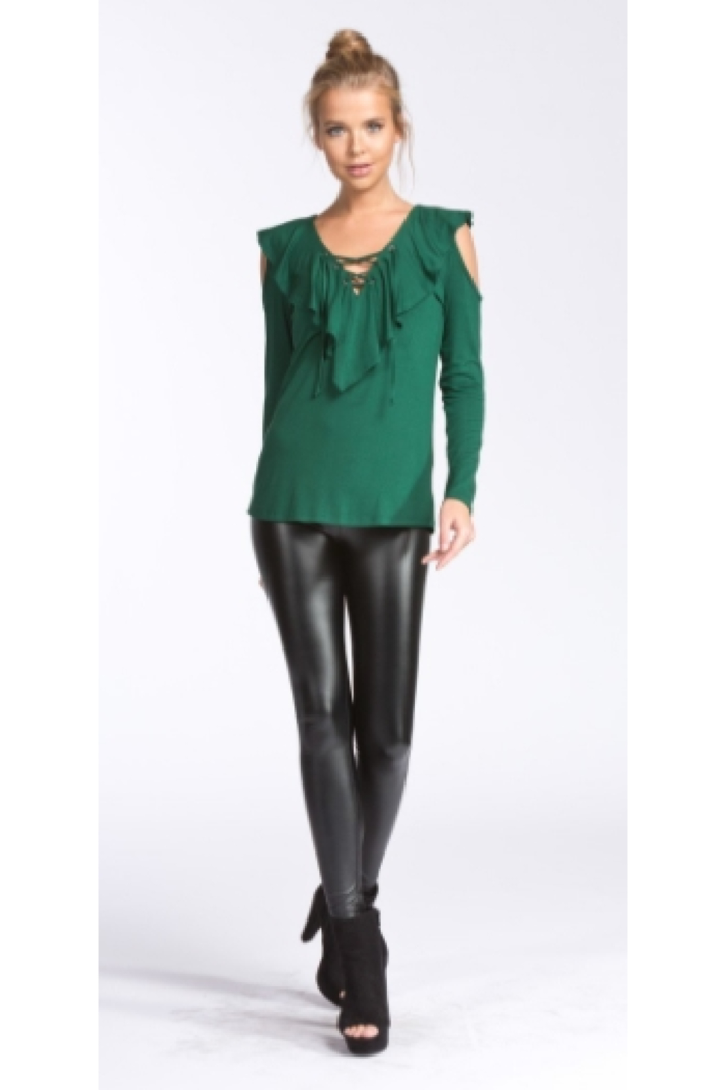 Cherish Jersey Ruffled Hunter Green Cold Shoulder Top - Side Cropped Image