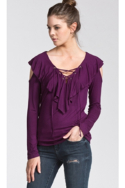 Cherish Jersey Ruffled Purple Cold Shoulder Top - Front cropped