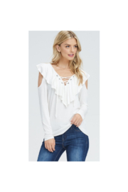 Cherish Jersey Ruffled White Cold Shoulder Top - Product Mini Image