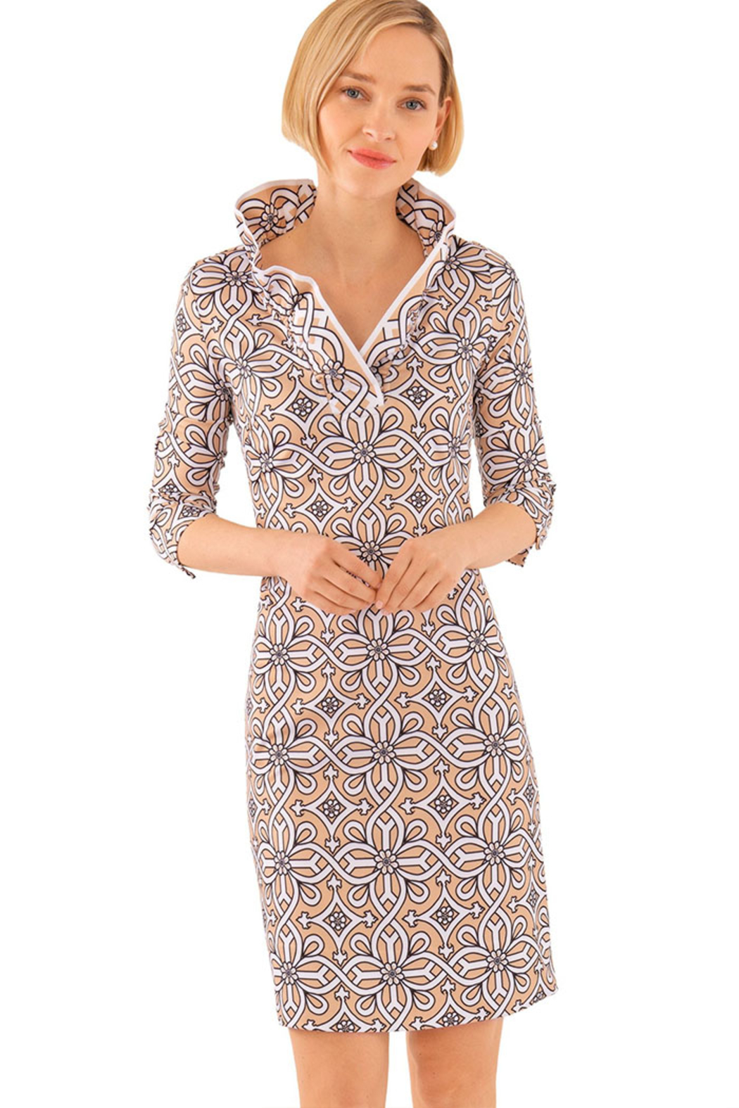 Gretchen Scott Jersey Ruffneck Dress Piazza - Main Image