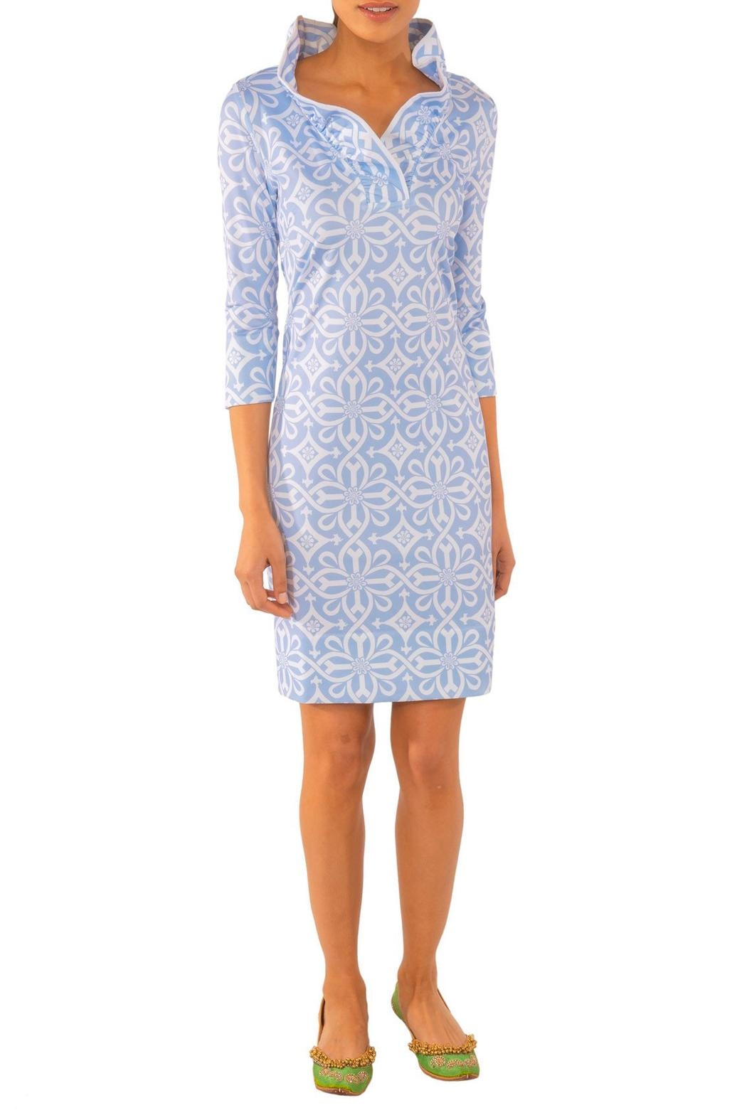 Gretchen Scott Jersey Ruffneck Dress-Piazza - Back Cropped Image