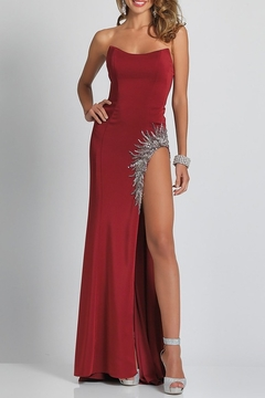 Dave and Johnny Jersey S/Less Gown W/ Beaded Beaded Slit - Product List Image