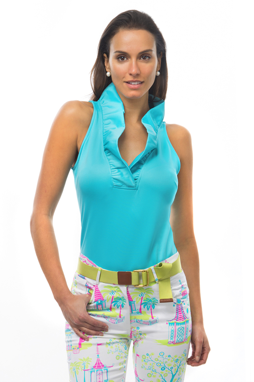 Gretchen Scott Jersey Sleeveless Ruffneck Top - Main Image