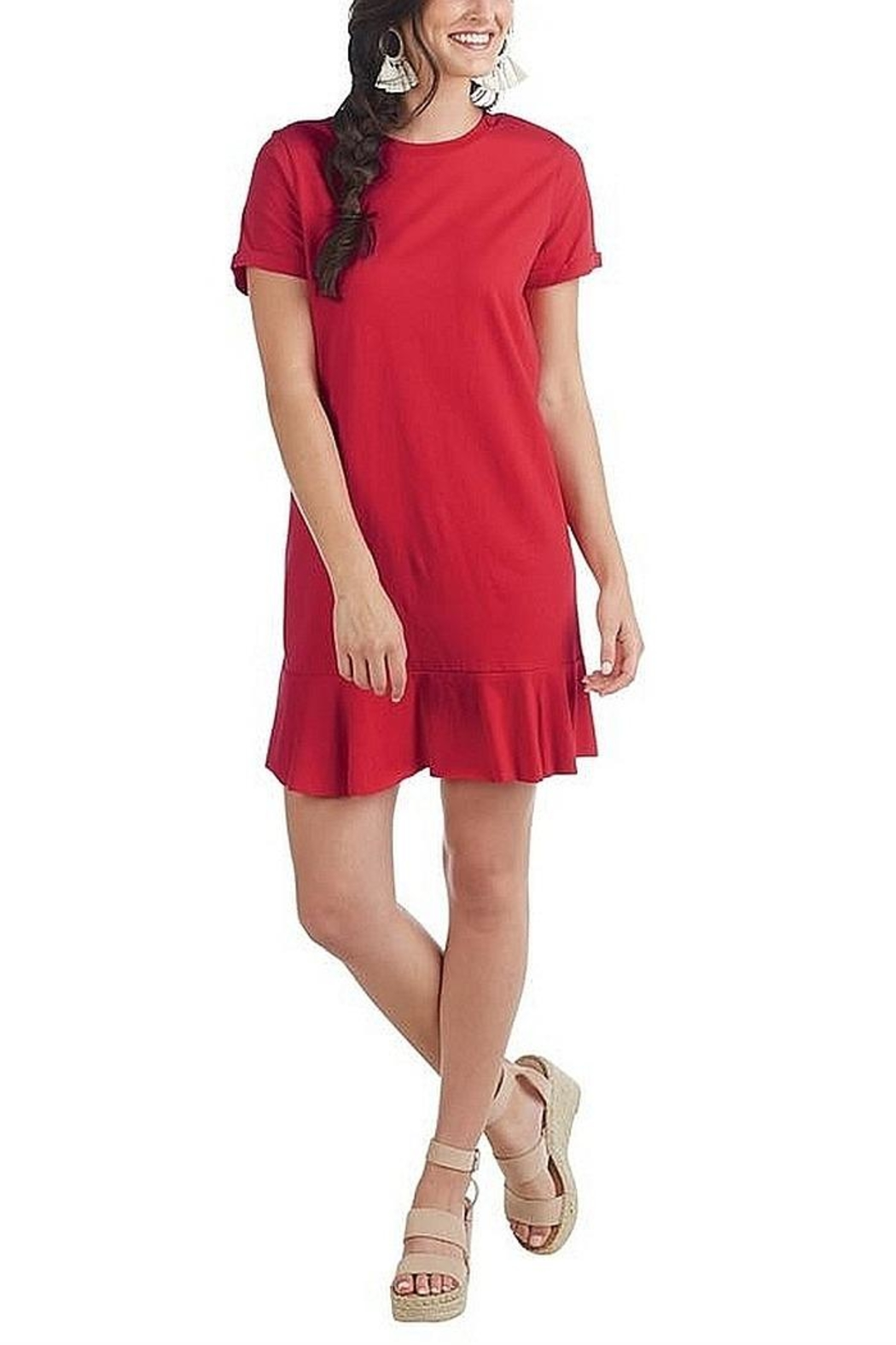Mud Pie Jersey T-Shirt Dress - Front Cropped Image