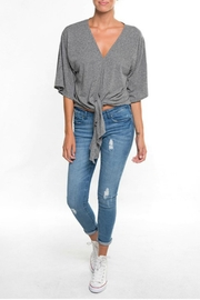 Love Stitch Jersey Tie Top - Front cropped