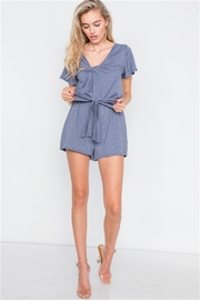 hummingbird Jersey V-Neck Front Roll Knot Romper - Side cropped