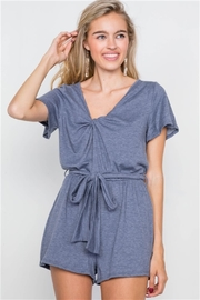 hummingbird Jersey V-Neck Front Roll Knot Romper - Product Mini Image