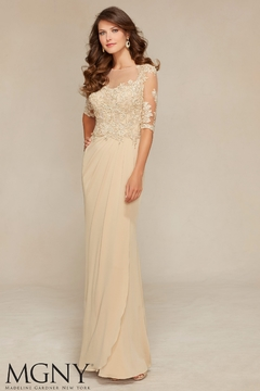 MGNY Jersey & Venice Lace Gown, Light Gold - Product List Image