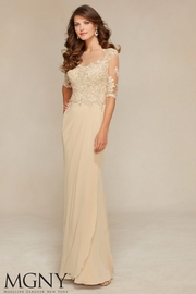 MGNY Jersey & Venice Lace Gown, Light Gold - Product Mini Image