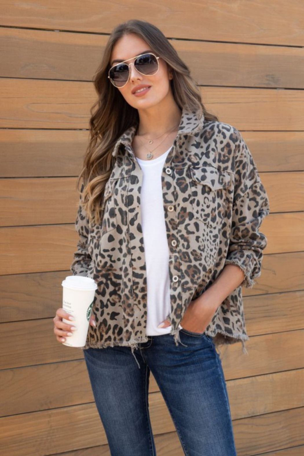 Venti 6 Jessica Jacket - Leopard - Front Cropped Image