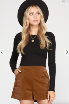 She and Sky Jessie Faux Leather Shorts - Product List Image