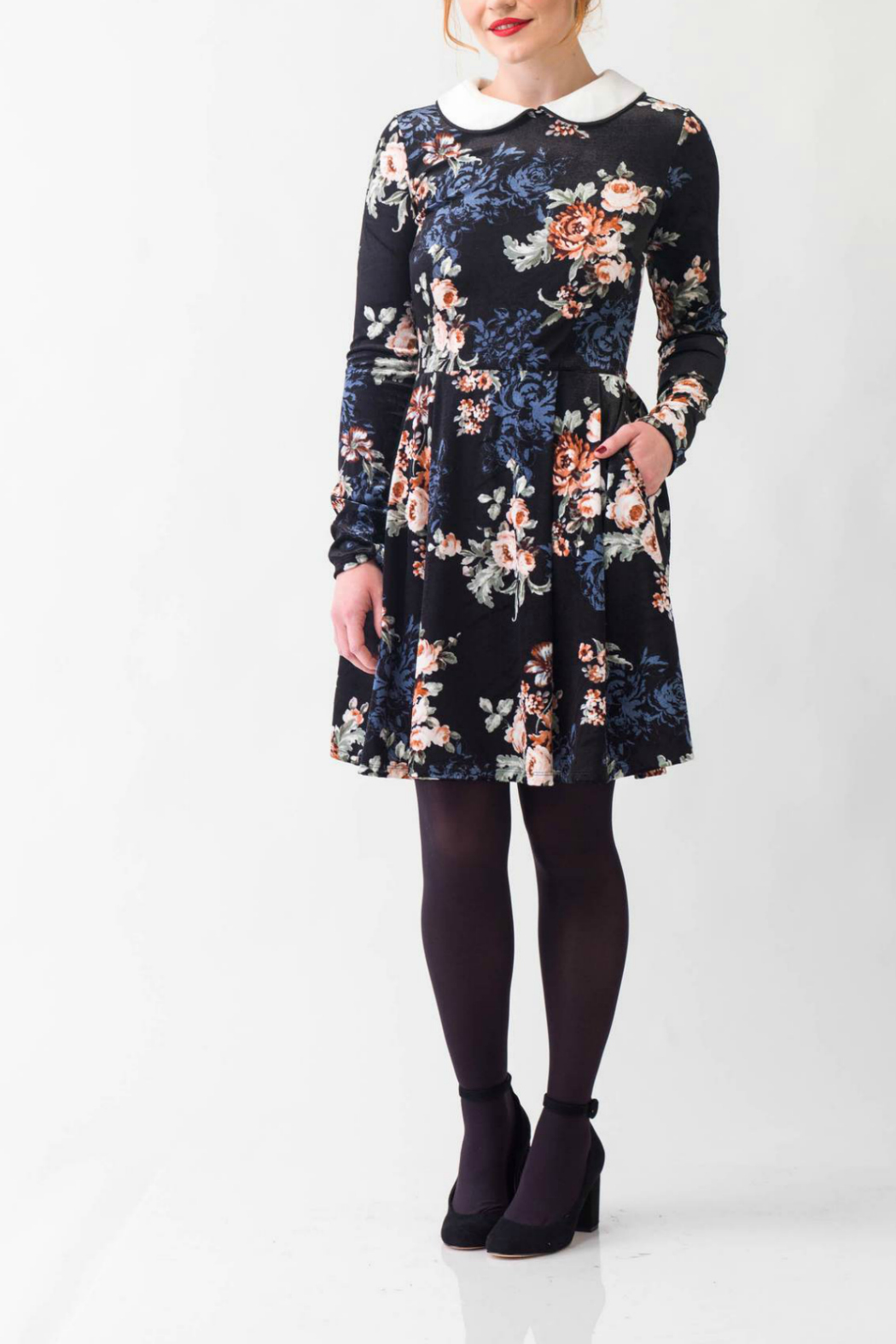 Smak Parlour Jet Set Floral Print Flare Dress - Main Image